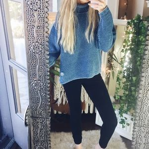 Denim + Stone Washed Thick Cowl Sweater